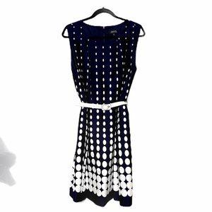 Tahari Navy Midi Dress writhing Polkadots Size 16